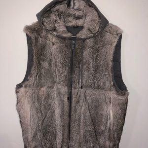 Men's Gray Reversible Rabbit Fur Vest size Large